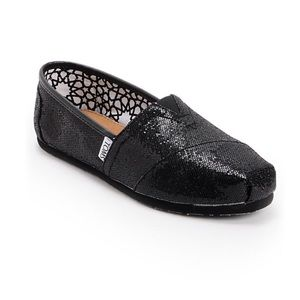 Toms black sparkly sequin classic style slip ons